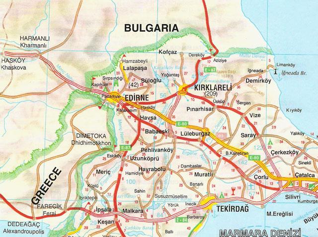 Edirne, Kırklareli, Tekirdağ, Harita