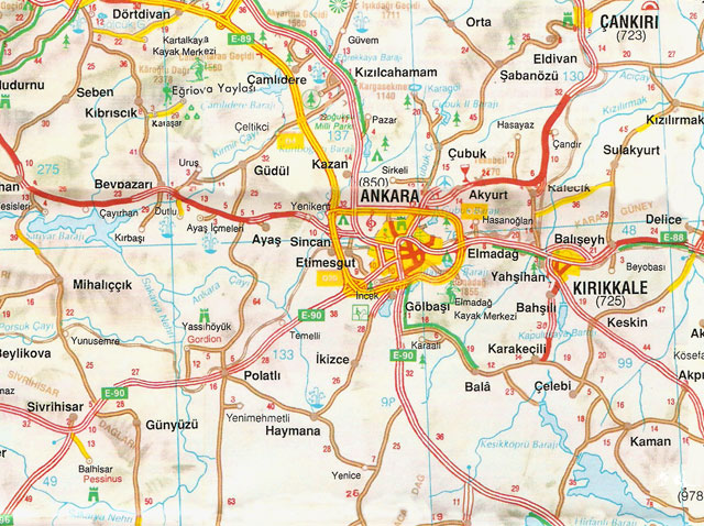 Ankara, Çankırı, Kırıkkale, Harita