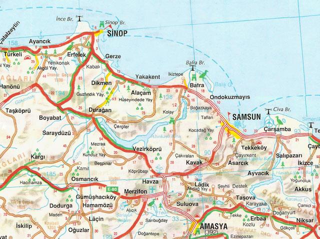 Amasya, Samsun, Sinop, Harita