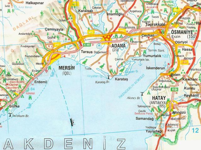Adana, Hatay, Mersin, Osmaniye, Harita