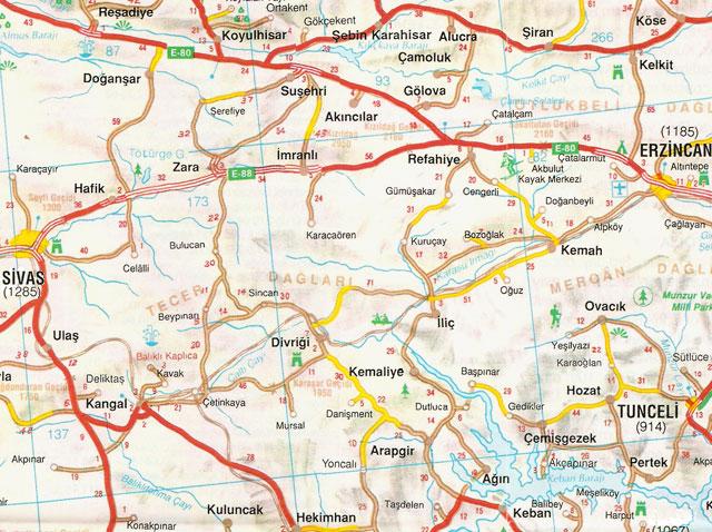Erzincan, Sivas, Tunceli, Harita