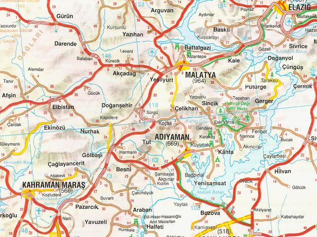 Adıyaman, Elazığ, Kahramanmaraş, Malatya, Harita