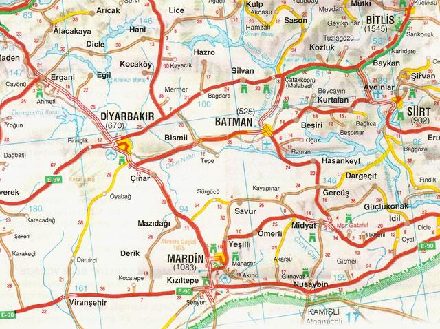 Batman, Bitlis, Diyarbakır, Siirt, Harita