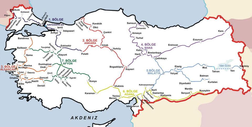 TCDD Demiryolları Haritası
